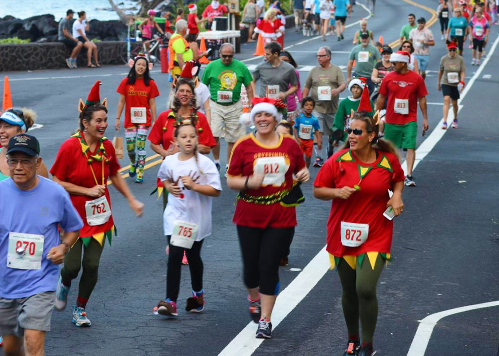 1 Mile Event  - part of Jingle Bell Beach Run. Big Island, Hawaii.